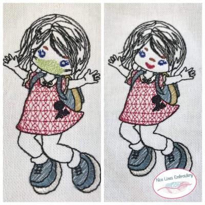 Stickdatei Schulmädchen, 1 x mit und 1 x ohne Maske