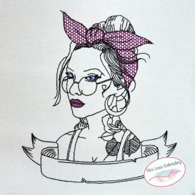 Stickdatei Old School Girl