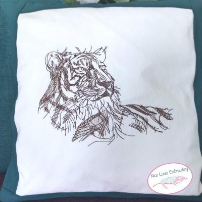 Tiger Skizze, die schnelle Stickdatei in 4 Größen