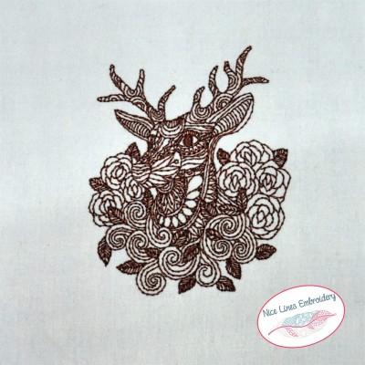 Stickdatei Zen Rudolph in drei röhrenden Größen