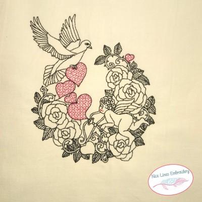 Love Bird Stickdatei,  Engel, Herzen und Vogel in 4 Größen